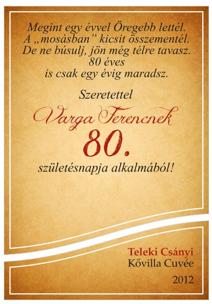 80 ik születésnapi köszöntő Egyedi borcímke születésnapra | BlancoWeb 80 ik születésnapi köszöntő